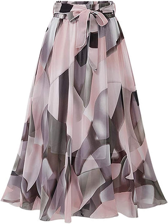 koweis Tulle Skirt Women Skirt Print Skirt Boho Style High Waist Beach Skirts