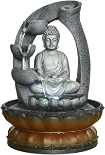 """Sitting Buddha Fountain 11"""", LED Indoor Table Waterfall Fountain Fengshui Meditation Relaxing Decor for Home Office"""