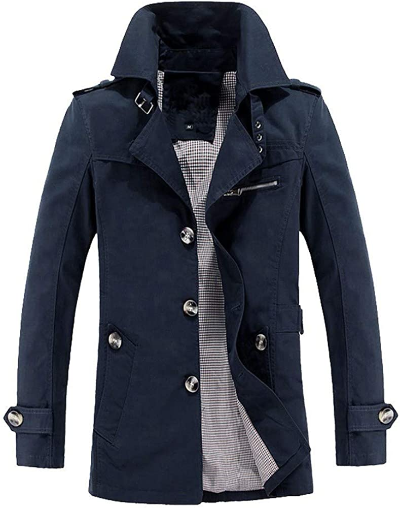 iCODOD Mens Trench Winter Warm Jacket Overcoat Single-Breasted Solid Pocket Outerwear Long Sleeve Buttons Coat
