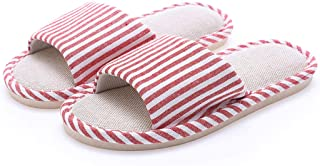House Slippers, Open Toes Home Slippers with Flax Cotton Upper and Sturdy Rubber Cushion Sole for Men and Women in Winter/Summer