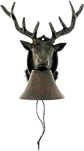 TG,LLC Treasure Gurus Metal Wall Mount Call Bell 8 Point Antler Buck Deer Cabin Lodge Home Door Decor