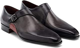 Costoso Italiano Black Leather Formal Monk Strap Shoes for Men
