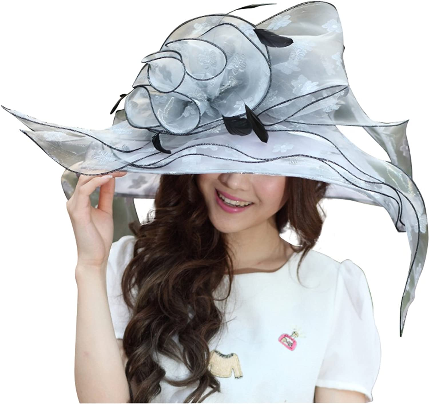 June's Young Women Sun Hats Silver Flower Organza Kentucky Derby Floppy Big