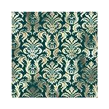 Taza cuadrada, Damasco Sepia Gold Lux Metallic Teal Velvet Effect Pu - Posavasos de piel sintética para café, cerveza, té, vino, hogar, oficina, cocina, bar, 2 unidades