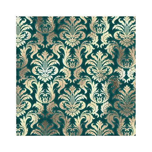 Taza cuadrada, Damasco Sepia Gold Lux Metallic Teal Velvet E