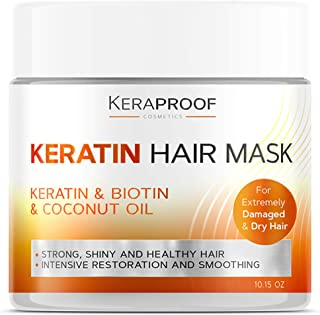 Keratin & Biotin Hair Mask - Best Deep Conditioner Treatment for Dry, Damaged, Color Treated & Curly Hair - D-Panthenol & ...
