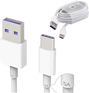 Genuine Official Huawei HL1289 5A USB 3.1 Type C Superfast Charging Data Cable for Huawei P9 / P9 Plus / P10 / P10 Plus / Mate 9 / Mate 10 Pro / Nova / Nova 2 - White (Bulk Packed, Frustration Free Packaging)