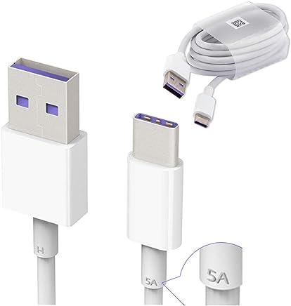 Huawei HL1289 5A USB 3.1 Tipo C Superfast Cable de Datos de Carga para Huawei P9/P9 Plus/P10/P10 Plus/Mate 9/Nova/Nova 2 – Color Blanco (empaquetado a Granel, Embalaje abrefácil)