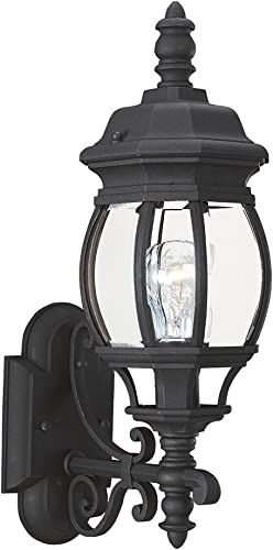 wholesale Sea discount Gull Lighting 88200-12 Wynfield One-Light Outdoor Wall Lantern with Clear Beveled Glass Panels, wholesale Black Finish outlet sale