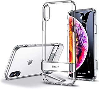 ESR Metal Kickstand Case for iPhone Xs/X, [Vertical and Horizontal Stand] [Reinforced Drop Protection] Flexible TPU for iPhone Xs/X, Jelly Clear