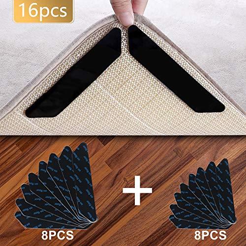 Vicloon Antirutschmatte für Teppich, 16 Stück Teppich Aufkleber Waschbar und Wiederverwendbar, Teppich Ecke rutschfest Teppichstopper Starke Klebrigkeit und Leicht zu Entfernen - 2 Größen, Schwarz