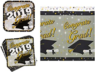 2019 Graduation Party Supply Pack for 24 Guests - Bundle Includes Paper Plates, Napkins and Plastic Table Cover in Silver, Gold & Black