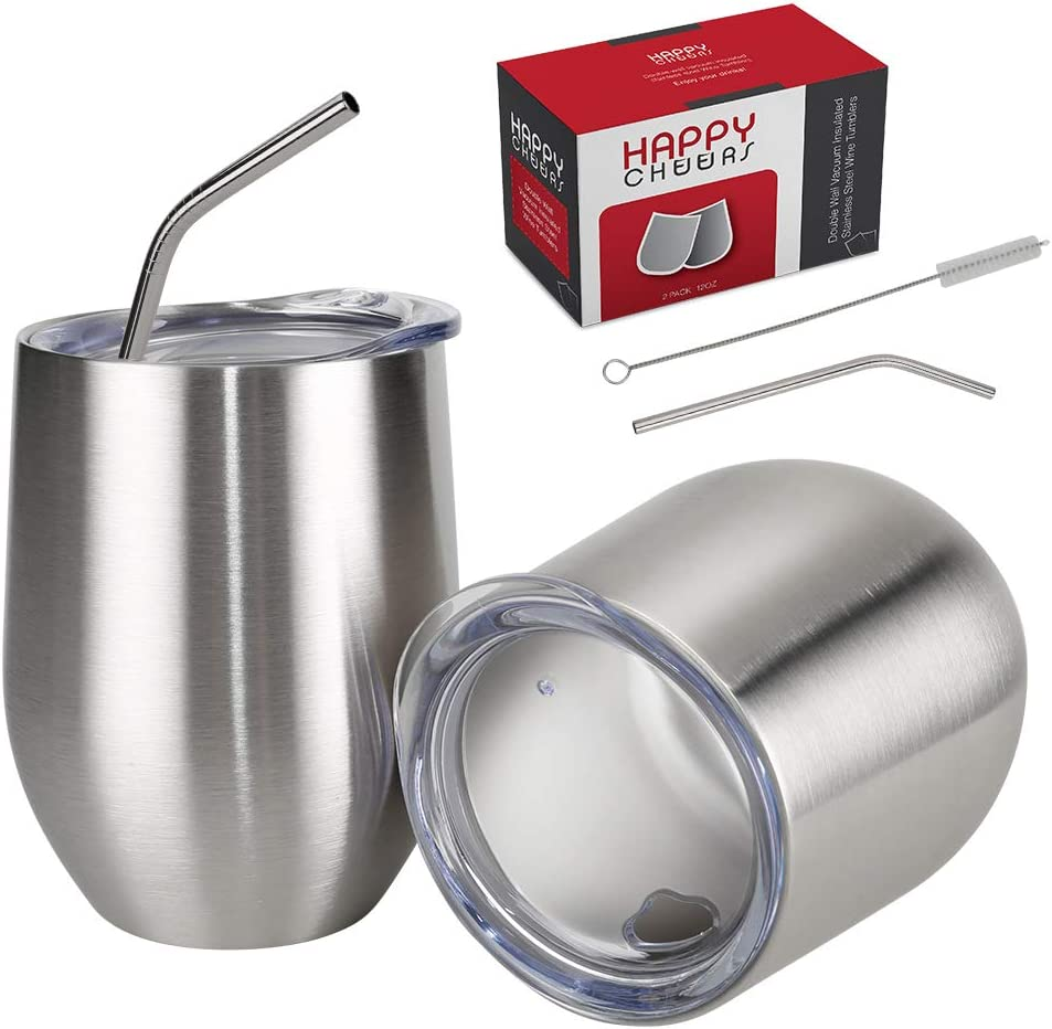 Happycheers 12 Oz Inexpensive Vacuum Insulated Metal Glasses In stock Water 2 Set of