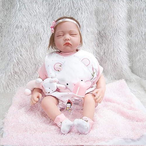 Reborn Baby Doll Lebensechte Entzückende Baby Weiße   mädchen Puppe, 22 Zoll Gewichtete Baby Doll, Plüsch Spielzeug, Kinder Partner Spielzeug