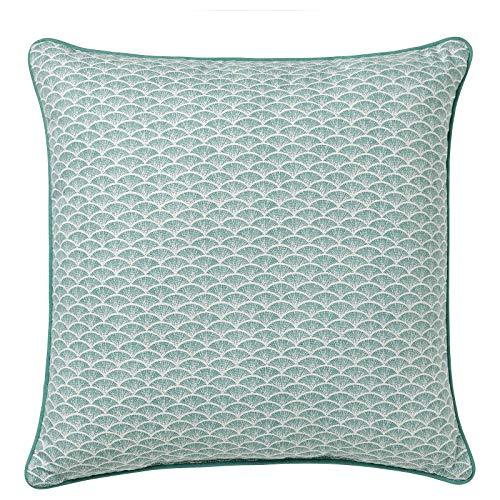 Almohada para sofá o cama (40 x 40 cm), color gris turquesa y blanco