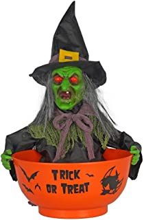 Animated Witch Candy Bowl - Batteries Included - Moves and Says 7 Different Sayings! - Bowl Color Vary Between Purple or Orange