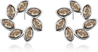 Studs Earrings Unique Leaf Surround Crystals Luxury Jewelry For Women