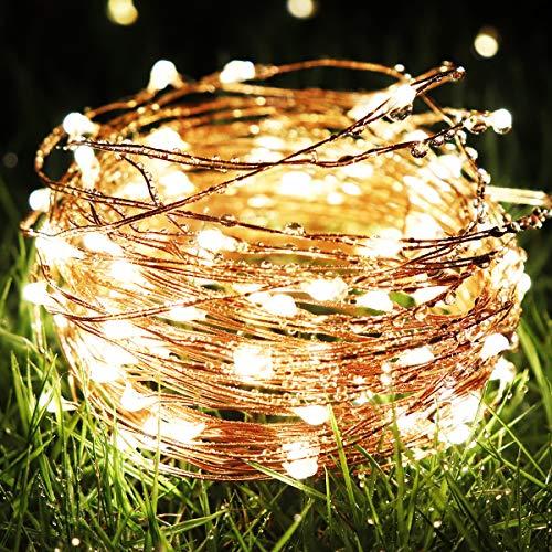 イルミネーションライトledストリングライト電池式装飾ライト10m100LEDフェアリーライト 8点灯モード 防水仕様 ledガーデンライト飾り クリスマス・ツリー/パーティー/ベッドルーム/アウトドア/結婚式/庭対応 (電球色)
