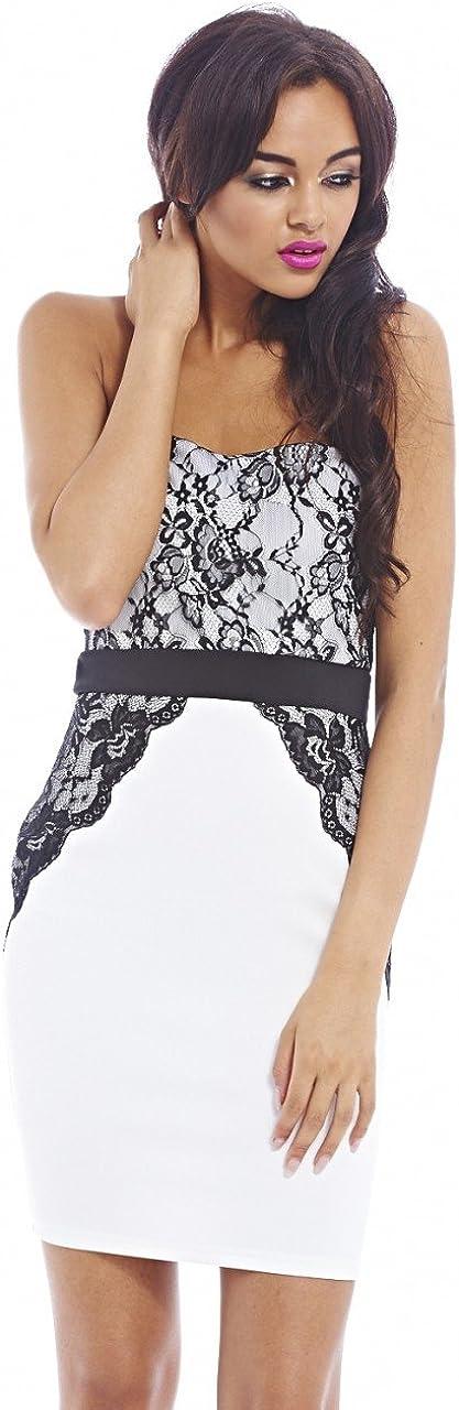 AX Paris Women's Boobtube Lace Scuba Contrast Cream Dress