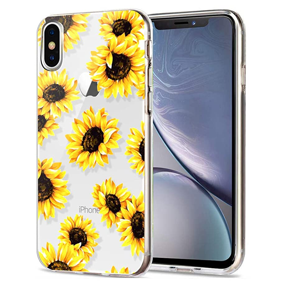 AIKIN iPhone X Case, iPhone Xs Case, Simply Designed Sunflower Flower Pattern Case Clear Ultra-Thin Soft TPU Flexible Shockproof Cute Protective Case for iPhone X/XS (Sunflower+Clear)