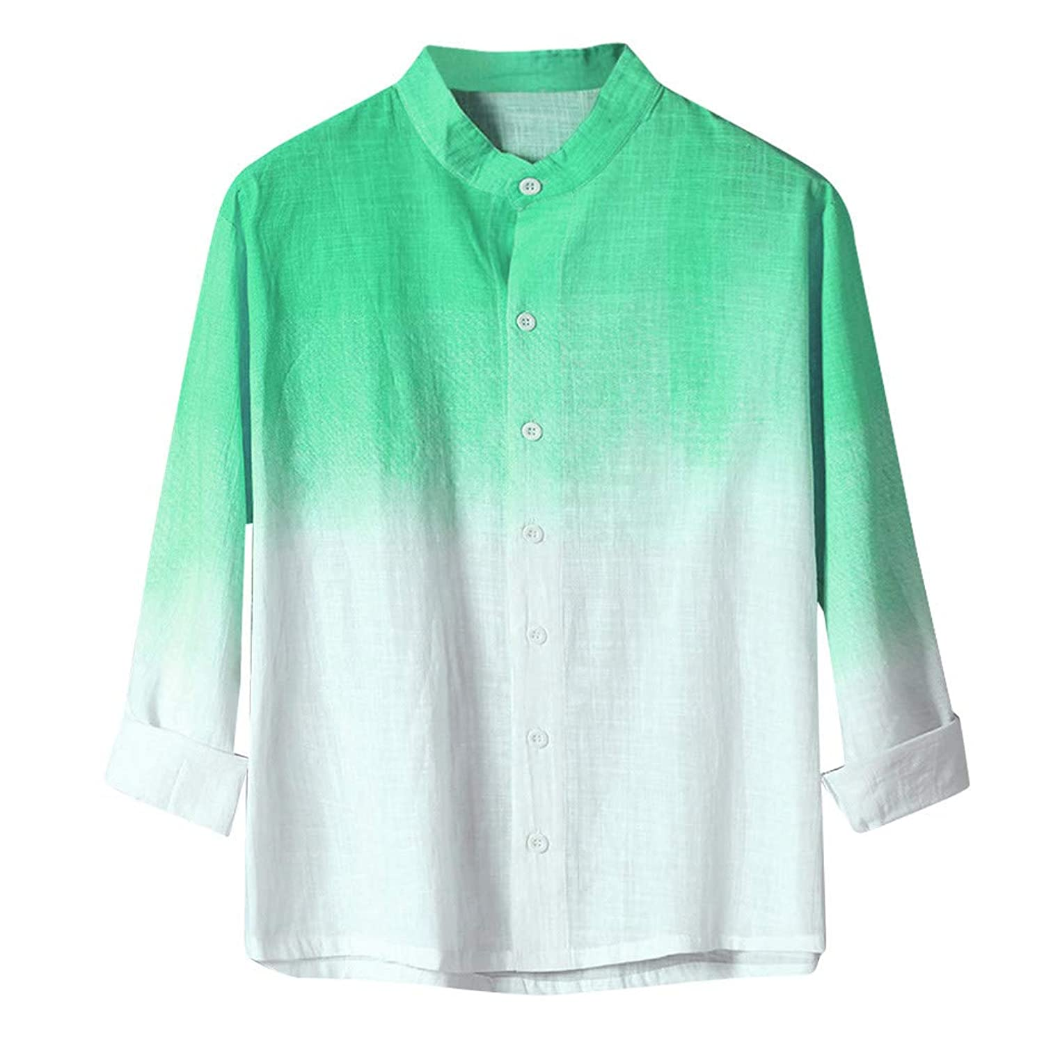 Sherostore ? Men's Dip Dye Linen Cotton Blend Short Sleeve Casual Shirt Gradient Shirts for Vacation