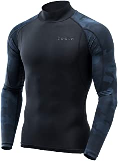 Tesla Men's Long Sleeve Mock Neck T-Shirt Baselayer Cool Dry Compression Top