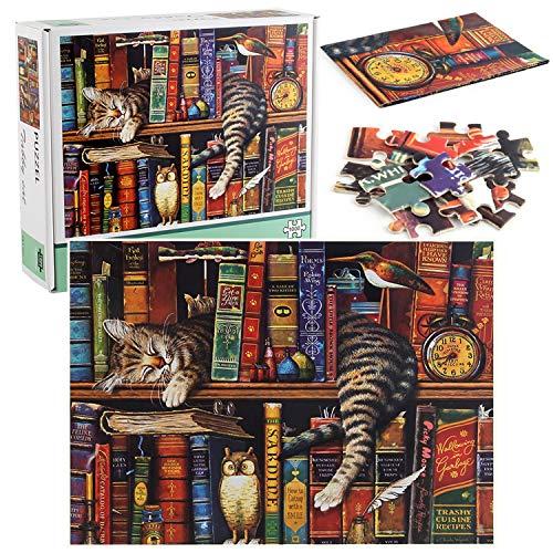OUME Puzzle 1000 Teile,Puzzle für Erwachsene,Impossible Puzzle, Die Katzen Von Charles Wysocki - Erwachsenenpuzzle ab 14 Jahren.