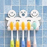 PINKRACY Hanging Toothbrush Holder – Smiley Face Wall Mount Toothbrush Holder – Family Toothbrush Holder with 2 Suction Cups – Silicone Mirror Organizer for 3-5 Toothbrushes – Cute and Fun Accessory