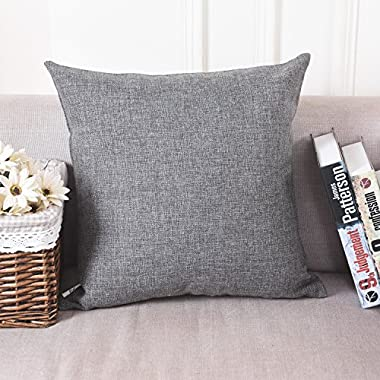 HOME BRILLIANT Soft Solid Linen Euro Sham Throw Pillow Cover for Couch, 24 x24 , Dark Grey