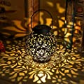 Outdoor Solar Hanging Lantern Lights Metal LED Decorative Lamp for Garden Patio Courtyard Lawn and Table with Hollowed-Out Design
