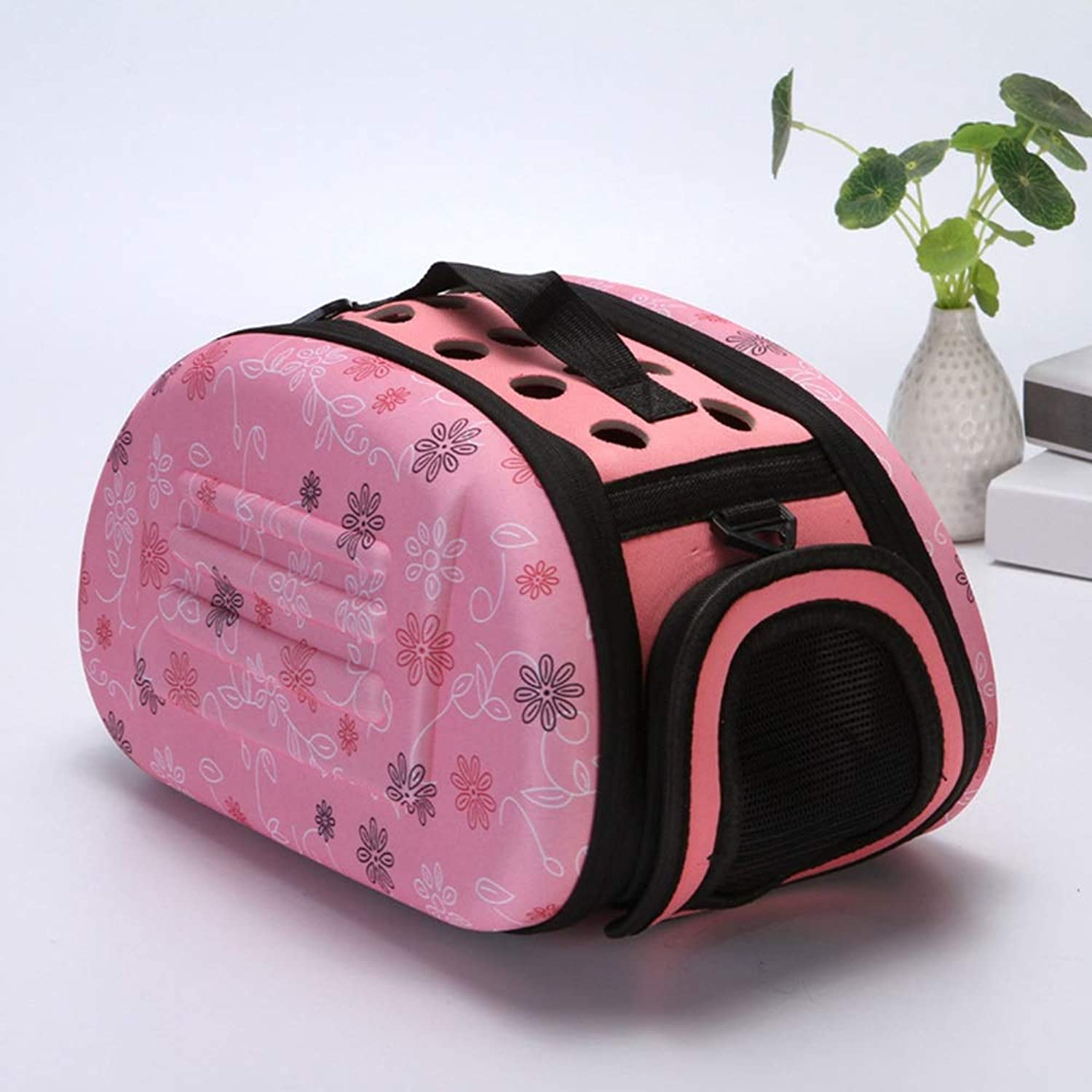 MISSKERVINFENDRIYUN Collapsible Pet Dog Cat Carrier Cage Folding Travel Kennel (color   Pink)