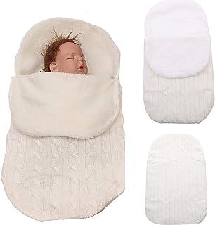 Pasgeboren Baby Meisjes Jongens Wrap Swaddle Deken Gebreide Slaapzak, Lichtgewicht Zachte Dikke Fleece Unisex Slaapzak Kin...