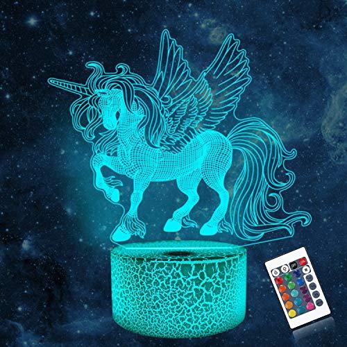 CooPark 3D Einhorn Lampe LED Nachtlicht mit Fernbedienung, Coopark 16 Farben Wählbar Dimmbare Touch Schalter Nachtlampe Geburtstag Geschenk Frohe Weihnachten Geschenke Für Mädchen Männer Frauen Kinder