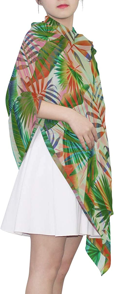Summer Exotic Floral Tropical Palm Leaves Unique Fashion Scarf For Women Lightweight Fashion Fall Winter Print Scarves Shawl Wraps Gifts For Early Spring