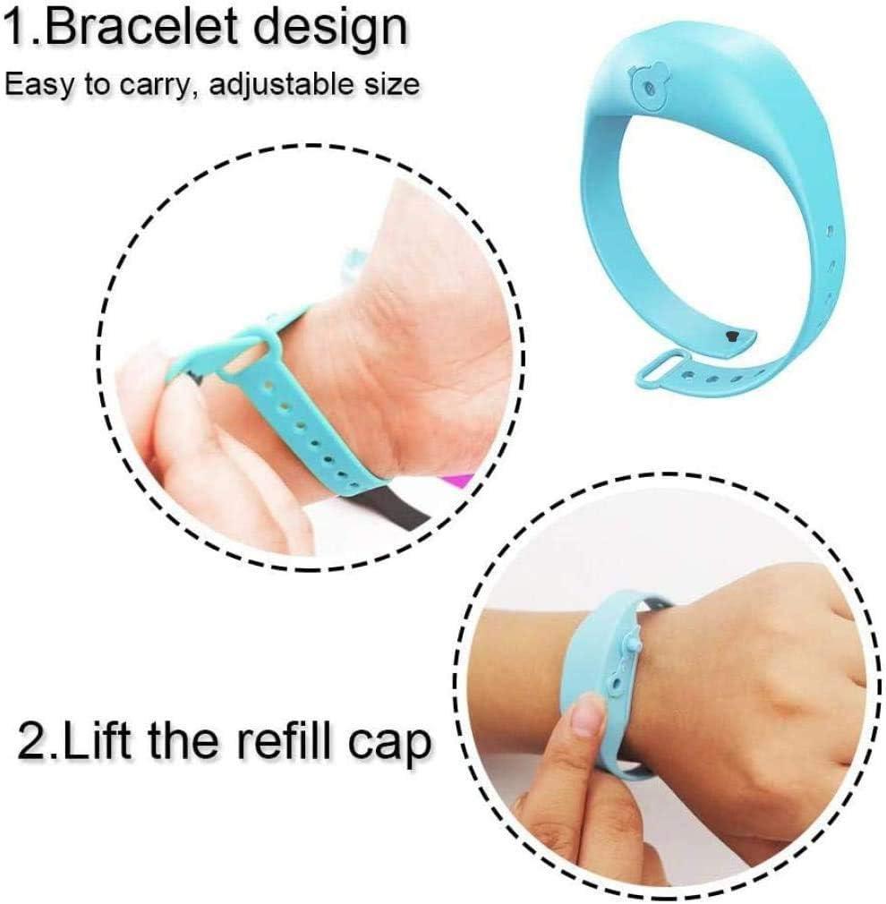 Jieyunran hand sanitizer bracelet dispenser Adjustable Hand Sanitizer Wristband Silicone Wearable Sanitizing Gel Holder Refillable Travel Bracelet for Adult Kid with 1 Re-fillable Beak Bottle-black