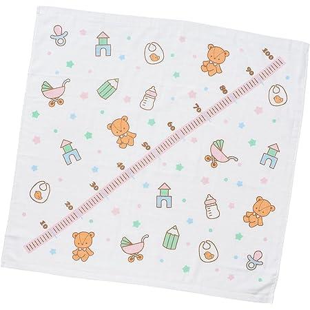 西松屋 身長計入り 正方形表ガーゼバスタオル(クマ/ヒツジ/パンダ) ピンク