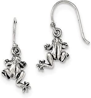 Sterling Silver and Antiqued Frog Shepherd Hook Earrings