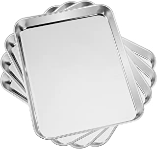 Baking & Cookie Sheets Set of 4, Yododo Stainless Steel Compact Toaster Oven Pan Tray Ovenware Professional, Size 10.23 x 8.26 x 1 inch, Heavy Duty, Deep Edge, Superior Mirror Finish, Dishwasher Safe