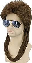Topcosplay 80s Wig Brwon Mullet Wig Redneck Wig Mens Wig Halloween Costume Accessories Rock Wigs Wavy