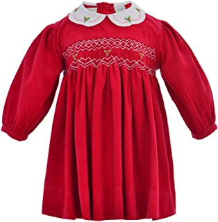 Carriage Boutique Baby Girl Corduroy Long Sleeve Dress - Red