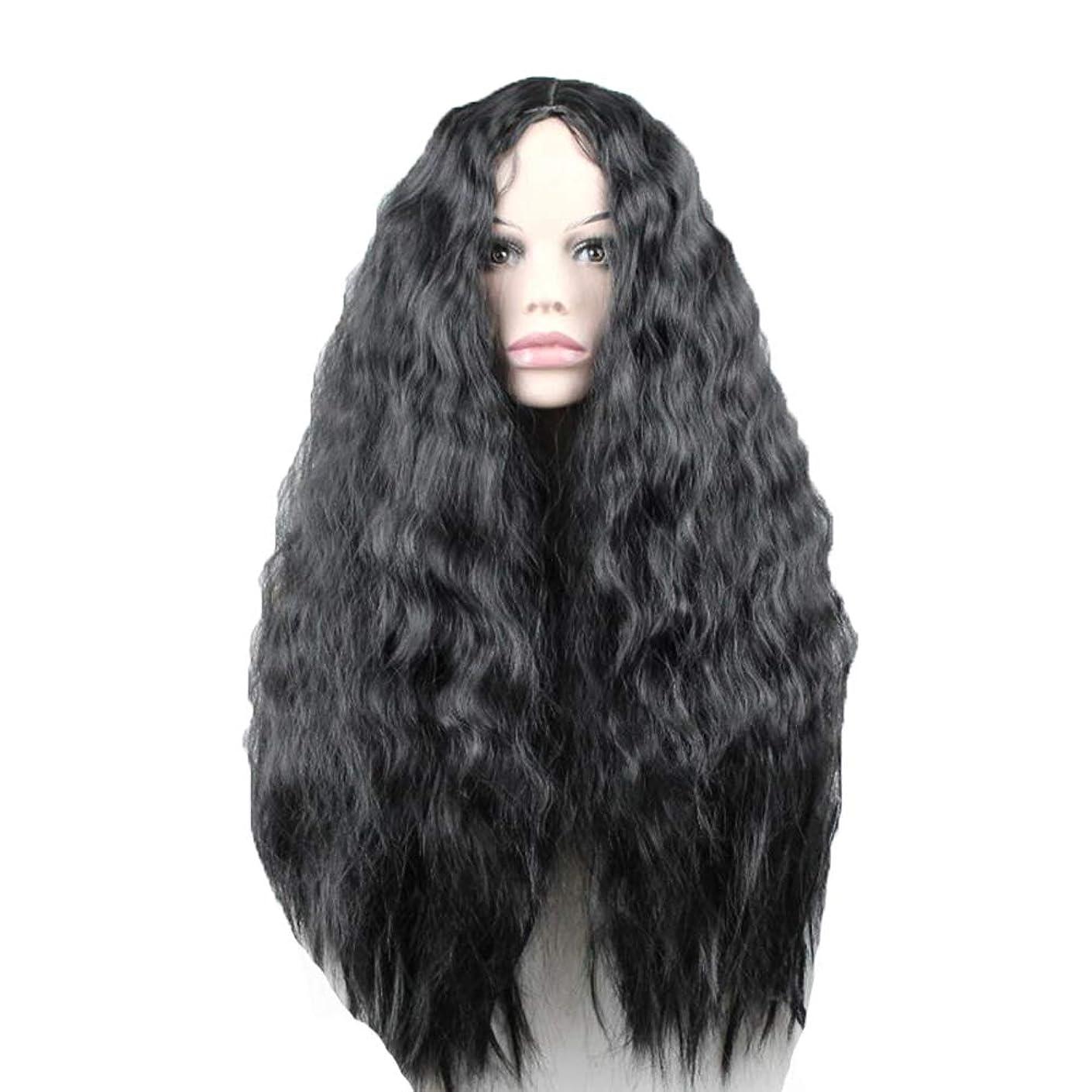 法律対立滑るかつら - ファッションロングロール高温シルクウィッグパーティーロールハロウィーン60cm黒を演奏 (色 : 黒, サイズ さいず : 60 cm 60 cm)