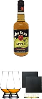 Jim Beam APPLE Whiskey 0,7 Liter  The Glencairn Glass Whisky Glas Stölzle 2 Stück  Schiefer Glasuntersetzer eckig ca. 9,5 cm Durchmesser 2 Stück