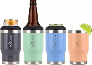 Reduce 4-in-1 Drink Cooler, 4 Pack (Assorted Colors)   Keeps Drinks Cold up to 4 Hours   Cup Holder Friendly