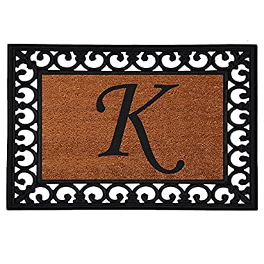Home & More 180041925K Inserted Doormat, 19  X 25  x 0.60 , Monogrammed Letter K, Natural/Black