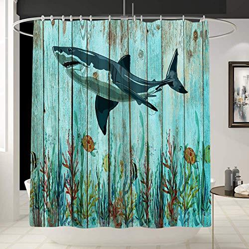 Tucocoo Unterwasserwelt Duschvorhang Ozeanlandschaft Duschvorhang für Badezimmer wasserabweisend Badezimmer Gardinen Ocean Shark Duschvorhänge Wasserdicht Badvorhang mit 12 Haken (70 x 70)