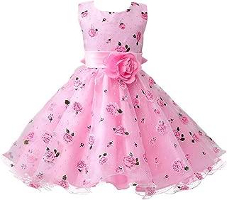 Áo quần dành cho bé gái – Girls Cotton Sleeveless Princess Dress with Flower for Children Clothes Kids Wedding Party Birthday Dresses