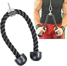 jkbfyt Heavy Duty Fitness Pull Rope for Biceps Triceps and Shoulders Double Grip Black
