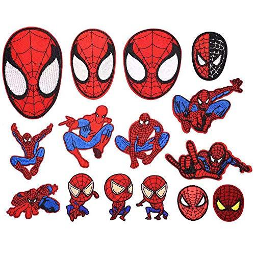 Patches zum aufbügeln,Eisen auf Patch 15 stück Spiderman Patches Fun Sponsor für Kleidung Stickerei Applique zum Nähen von Jacken Rucksäcken Jeans