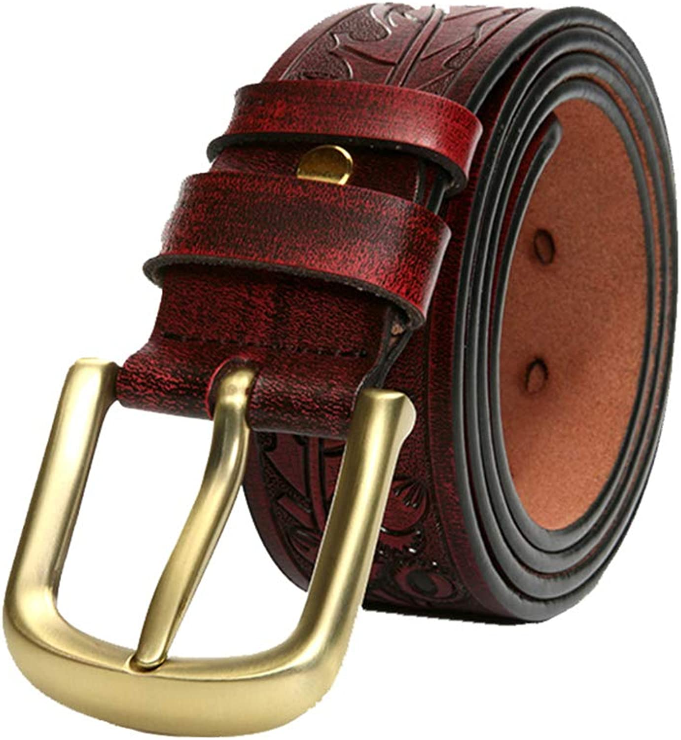 Men Leather Dress Belt Men's Belts Carved Craft Leather Men's Belts Business Casual Pin Buckle Jeans Belt Suitable for All Seasons and Places (Size   125 cm)