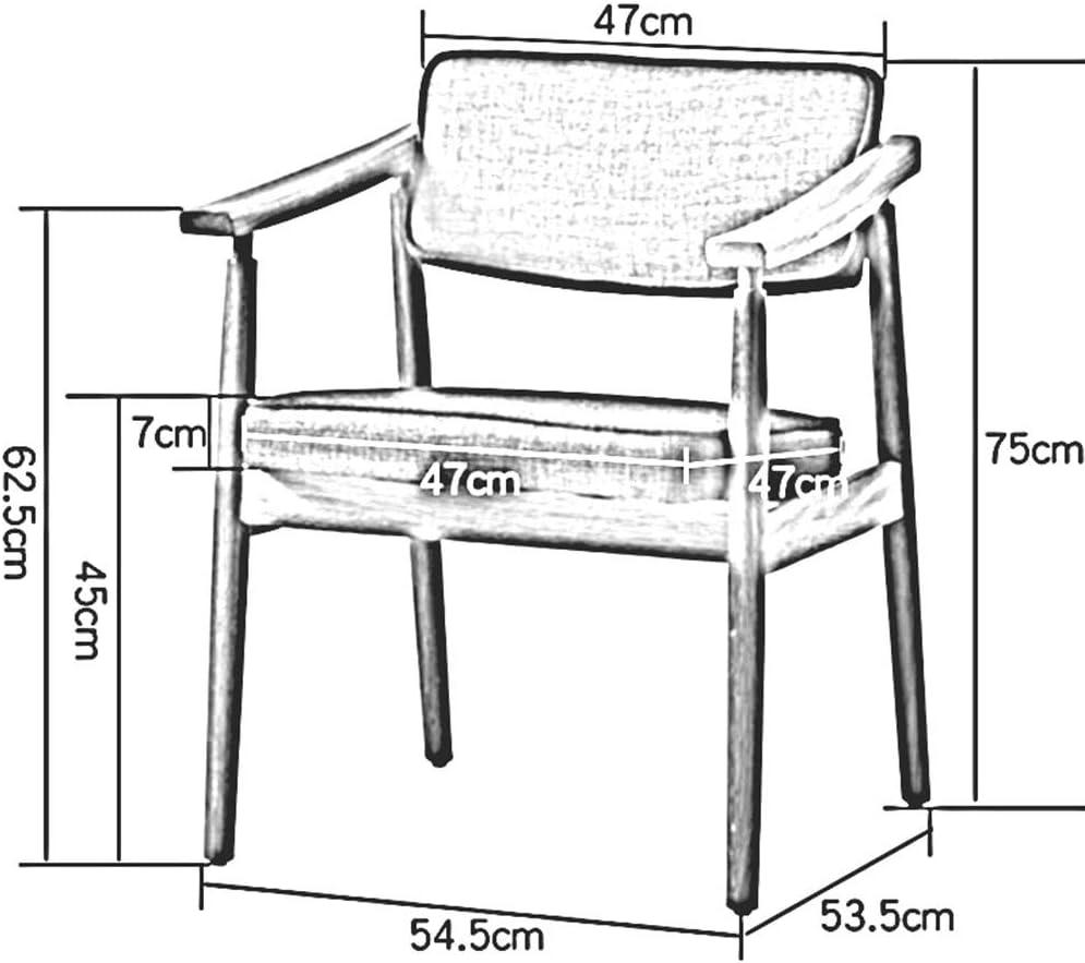 DALL Chaise De Salle À Manger Cadre en Bois Accoudoir Chaise De Table Dossier Coussin en Lin Chaise De Bureau Chaise De Réception De Loisirs Assemblée (Color : T1) T1